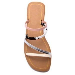 Strappy Slide Sandals in Blush Pink & Cow Print